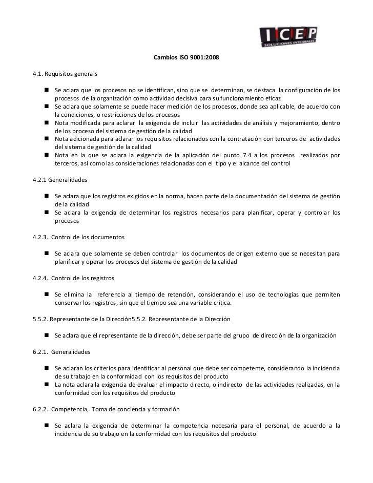 CambiosISO9001:20084.1.Requisitosgenerals         Seaclaraqu...