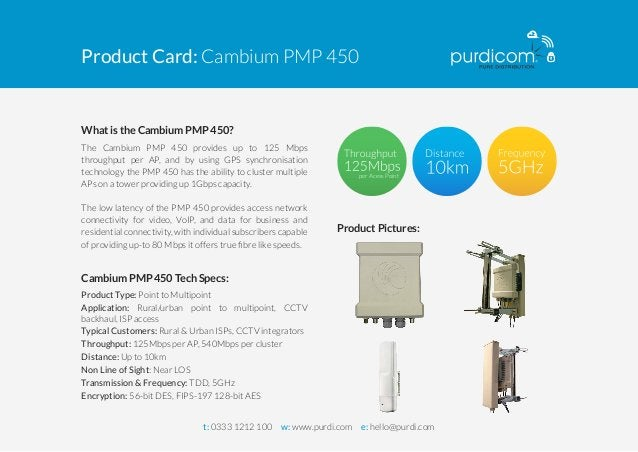 Product Card: Cambium PMP 450  What is the Cambium PMP 450?  The Cambium PMP 450 provides up to 125 Mbps  throughput per A...