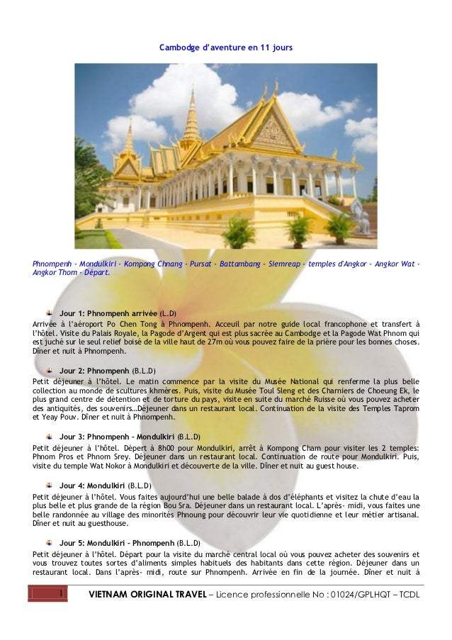 Cambodge d'aventure en 11 joursPhnompenh - Mondulkiri - Kompong Chnang - Pursat - Battambang - Siemreap - temples dAngkor ...