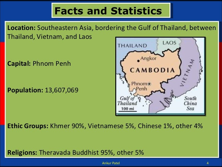 Facts and Statistics Location: Southeastern Asia, bordering the Gulf of Thailand, between Thailand, Vietnam, and Laos Cap...