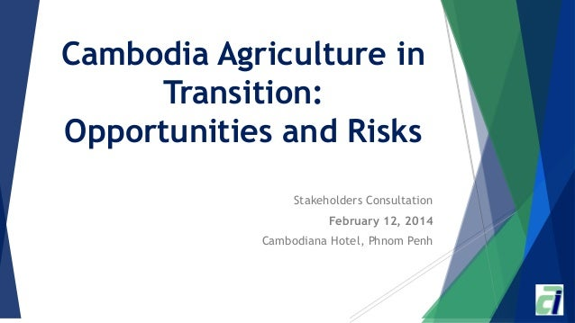 Cambodia Agriculture in Transition: Opportunities and Risks Stakeholders Consultation February 12, 2014 Cambodiana Hotel, ...
