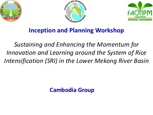 Inception and Planning Workshop Sustaining and Enhancing the Momentum for Innovation and Learning around the System of Ric...