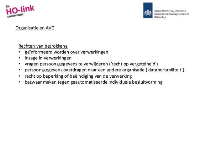 Organisatie en AVG Rechten van betrokkene • geïnformeerd worden over verwerkingen • inzage in verwerkingen • vragen persoo...