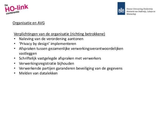 Organisatie en AVG Verplichtingen van de organisatie (richting betrokkene) • Naleving van de verordening aantonen • 'Priva...
