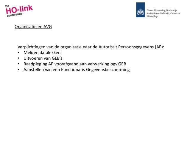 Organisatie en AVG Verplichtingen van de organisatie naar de Autoriteit Persoonsgegevens (AP): • Melden datalekken • Uitvo...