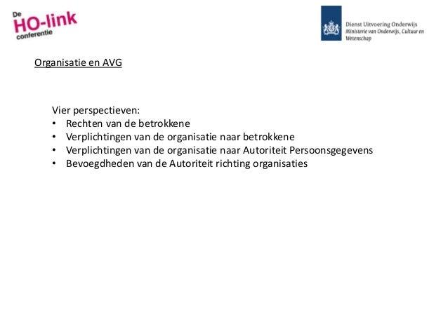 Organisatie en AVG Vier perspectieven: • Rechten van de betrokkene • Verplichtingen van de organisatie naar betrokkene • V...