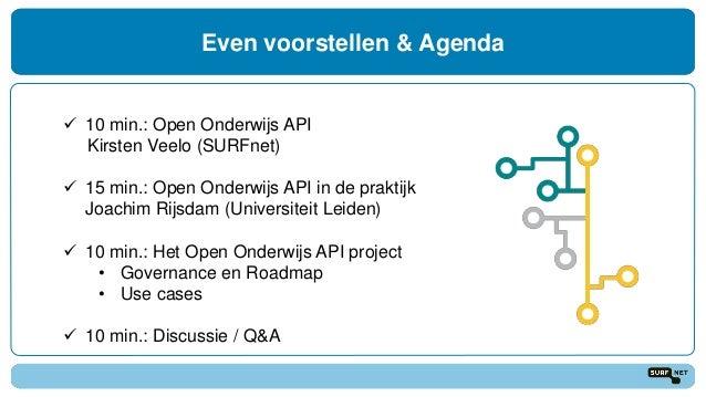 Even voorstellen & Agenda  10 min.: Open Onderwijs API Kirsten Veelo (SURFnet)  15 min.: Open Onderwijs API in de prakti...