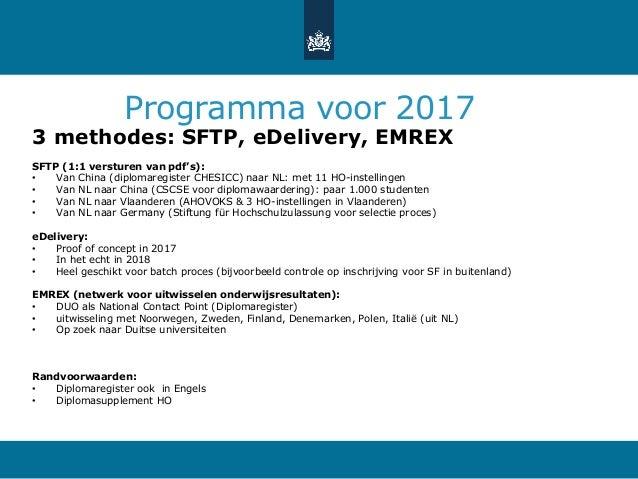 Programma voor 2017 3 methodes: SFTP, eDelivery, EMREX SFTP (1:1 versturen van pdf's): • Van China (diplomaregister CHESIC...