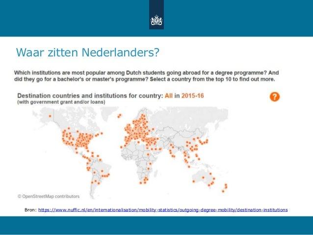 Waar zitten Nederlanders? Bron: https://www.nuffic.nl/en/internationalisation/mobility-statistics/outgoing-degree-mobility...