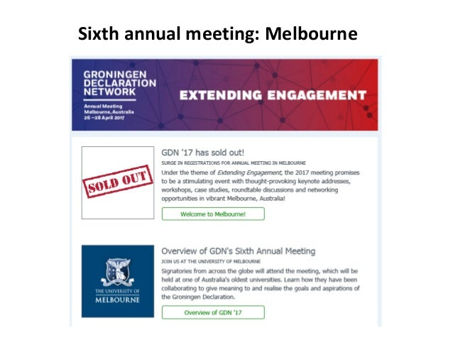 Sixth annual meeting: Melbourne