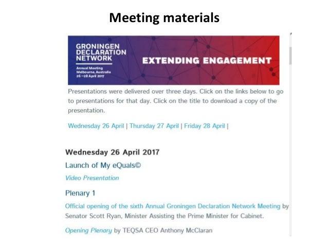 Meeting materials