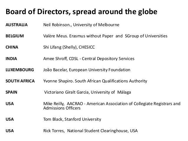Board of Directors, spread around the globe AUSTRALIA Neil Robinson., University of Melbourne BELGIUM Valère Meus. Erasmus...