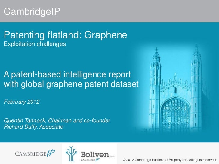 CambridgeIPPatenting flatland: GrapheneExploitation challengesA patent-based intelligence reportwith global graphene paten...