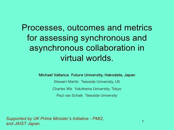 Processes, outcomes and metrics          for assessing synchronous and           asynchronous collaboration in            ...