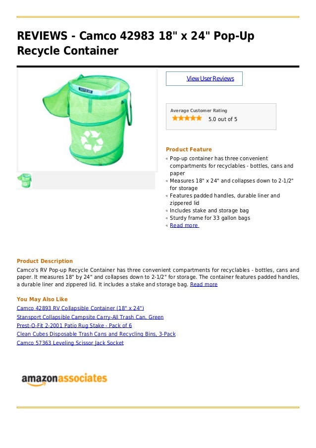 Camco 42983 18 X 24 Pop Up Recycle Container