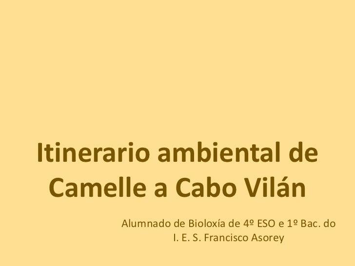 Itinerario ambiental de Camelle a Cabo Vilán<br />Alumnado de Bioloxía de 4º ESO e 1º Bac. do    I. E. S. Francisco Asorey...