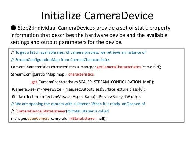 How to create a camera2
