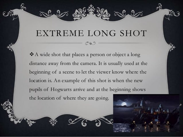 EXTREME LONG SHOT A wide shot that places a person or object a long distance away from the camera. It is usually used at ...