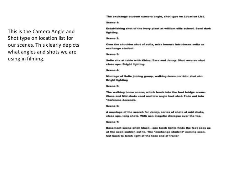 camera angles shot types list