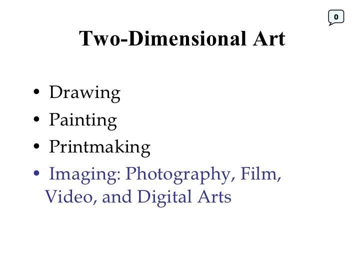 Two-Dimensional Art <ul><li>Drawing </li></ul><ul><li>Painting </li></ul><ul><li>Printmaking </li></ul><ul><li>Imaging: Ph...