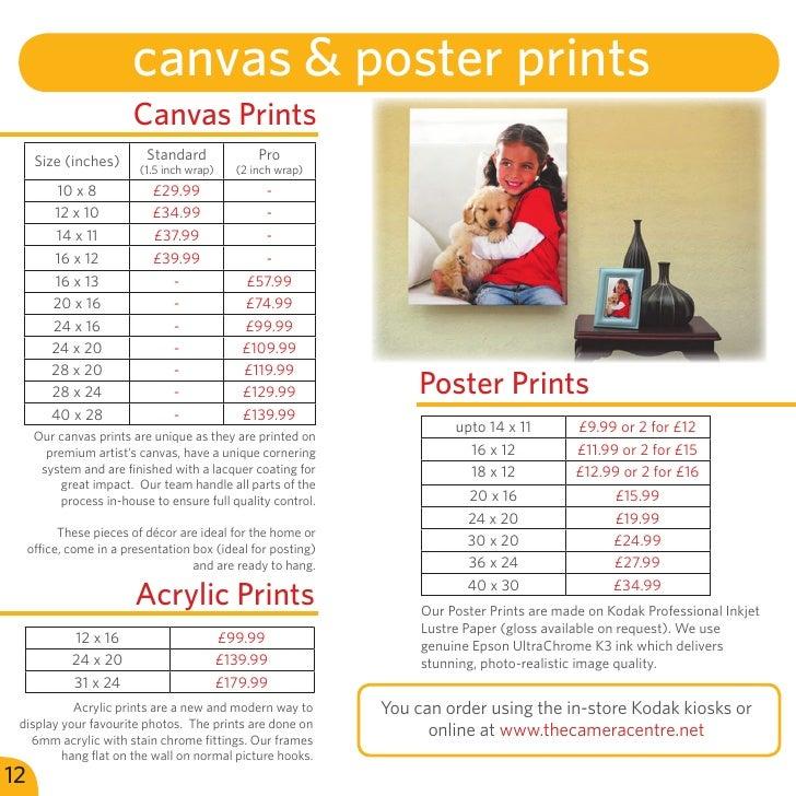 camera centre services price guide