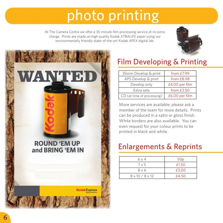 photo printing    At The Camera Centre we offer a 30 minute film processing service at no extra       charge. Prints are m...