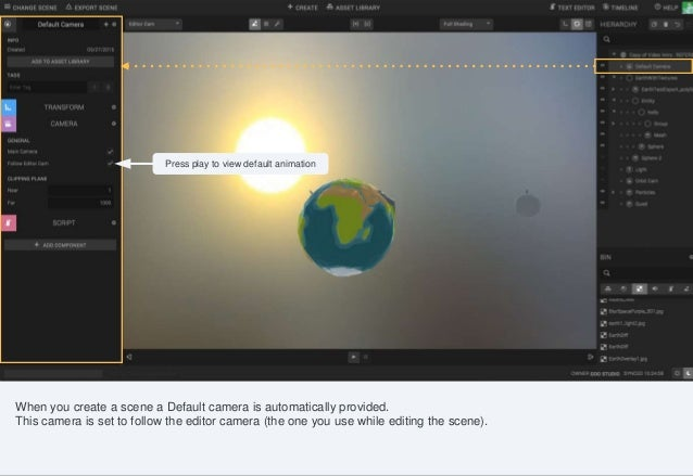 Controls such as shading mode, gizmo switch, camera selection can be found in the canvas menu. When you create a scene a D...