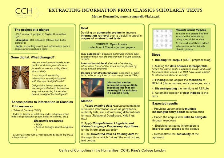 EXTRACTING INFORMATION FROM CLASSICS SCHOLARLY TEXTS                                                                     M...