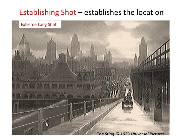 Establishing Shot  – establishes the location Extreme Long Shot The Sting © 1973 Universal Pictures