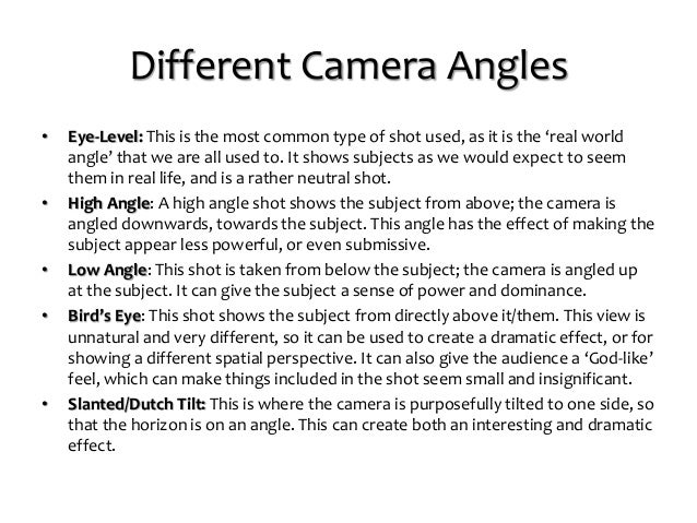 Camera Shots and Angles for Still Image Photography