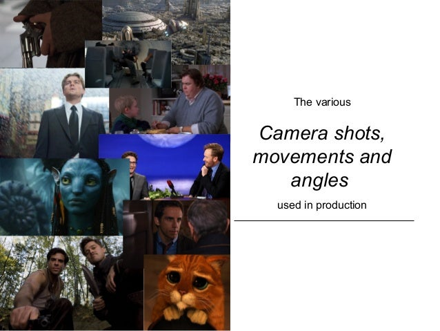 The various Camera shots, movements and angles used in production