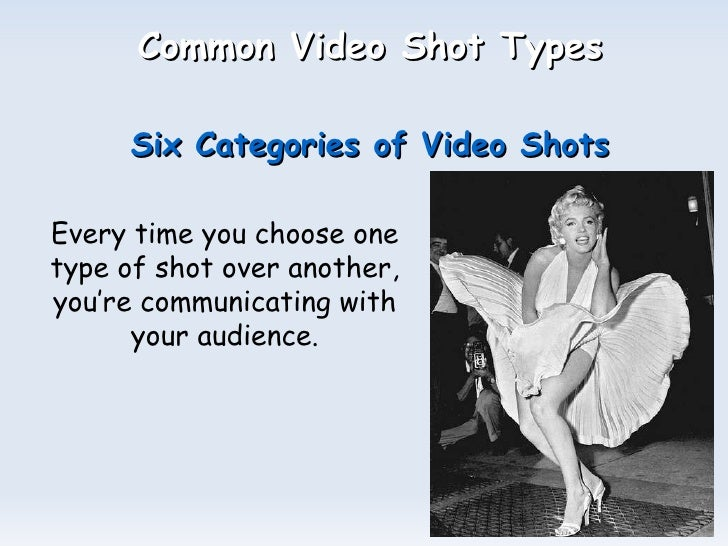 Common Video Shot Types   Six Categories of Video Shots Every time you choose one type of shot over another, you're commun...