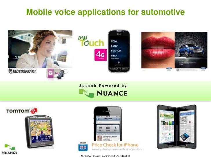 Mobile voice applications for automotive1                 Nuance Communications Confidential