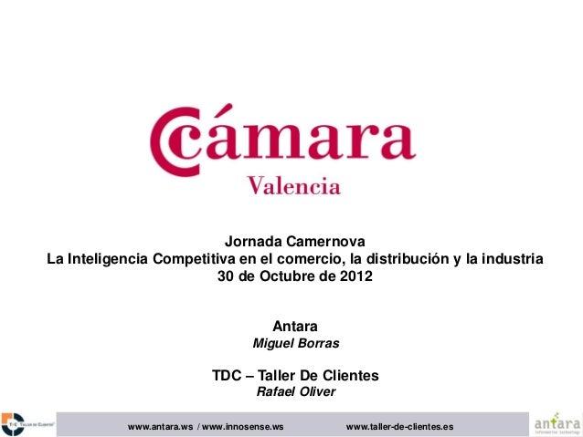 www.antara.ws / www.innosense.ws www.taller-de-clientes.es Jornada Camernova La Inteligencia Competitiva en el comercio, l...