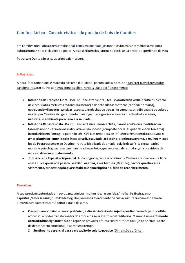 Camões Lírico - Características dapoesiade Luís de Camões Em Camõescoexistiuapoesiatradicional,comumapoesiacujosmodelosfor...