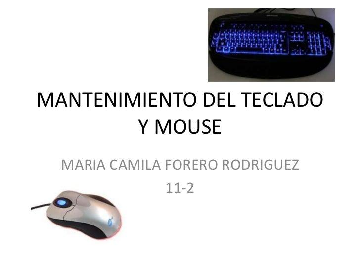MANTENIMIENTO DEL TECLADO Y MOUSE<br />MARIA CAMILA FORERO RODRIGUEZ<br />11-2<br />