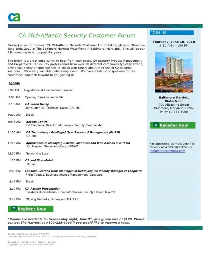 JOIN US          CA Mid-Atlantic Security Customer Forum                                                                  ...