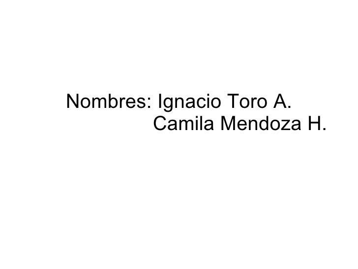 Nombres: Ignacio Toro A.   Camila Mendoza H.