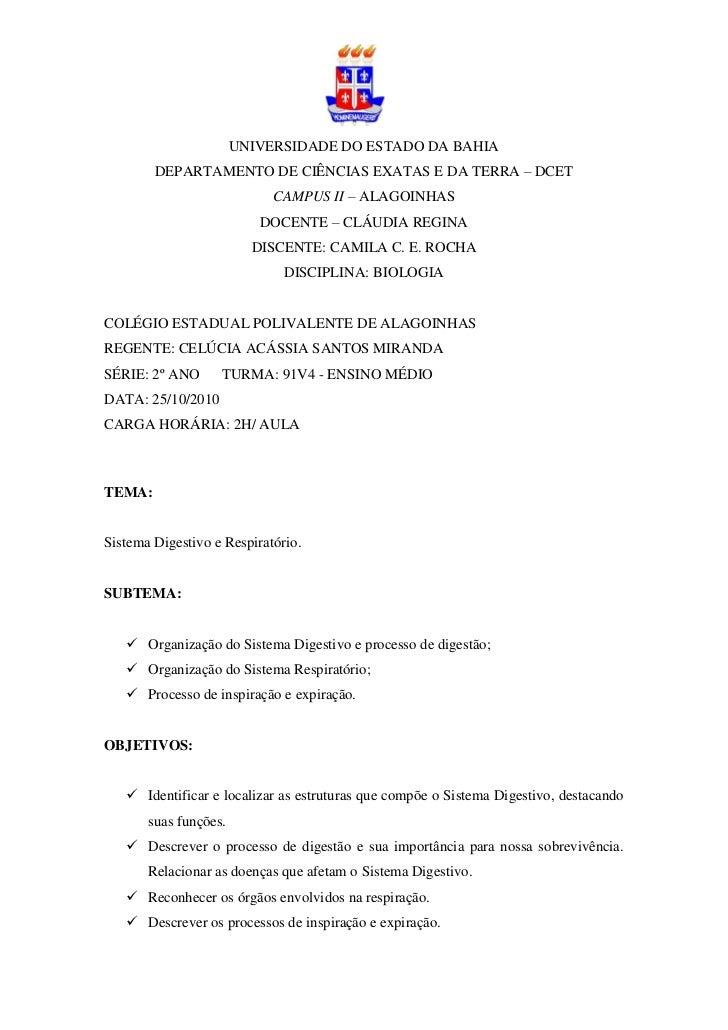 UNIVERSIDADE DO ESTADO DA BAHIA        DEPARTAMENTO DE CIÊNCIAS EXATAS E DA TERRA – DCET                            CAMPUS...