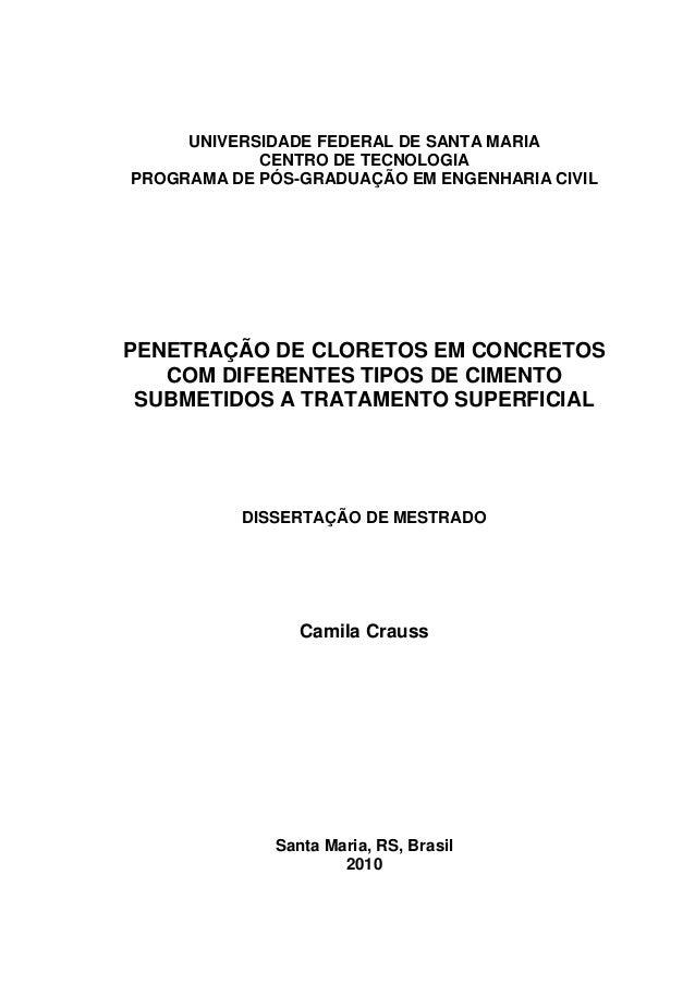 0 UNIVERSIDADE FEDERAL DE SANTA MARIA CENTRO DE TECNOLOGIA PROGRAMA DE PÓS-GRADUAÇÃO EM ENGENHARIA CIVIL PENETRAÇÃO DE CLO...