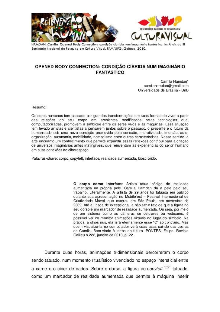 HAMDAN, Camila. Opened Body Connection: condição cíbrida num imaginário fantástico. In: Anais do IIISeminário Nacional de ...