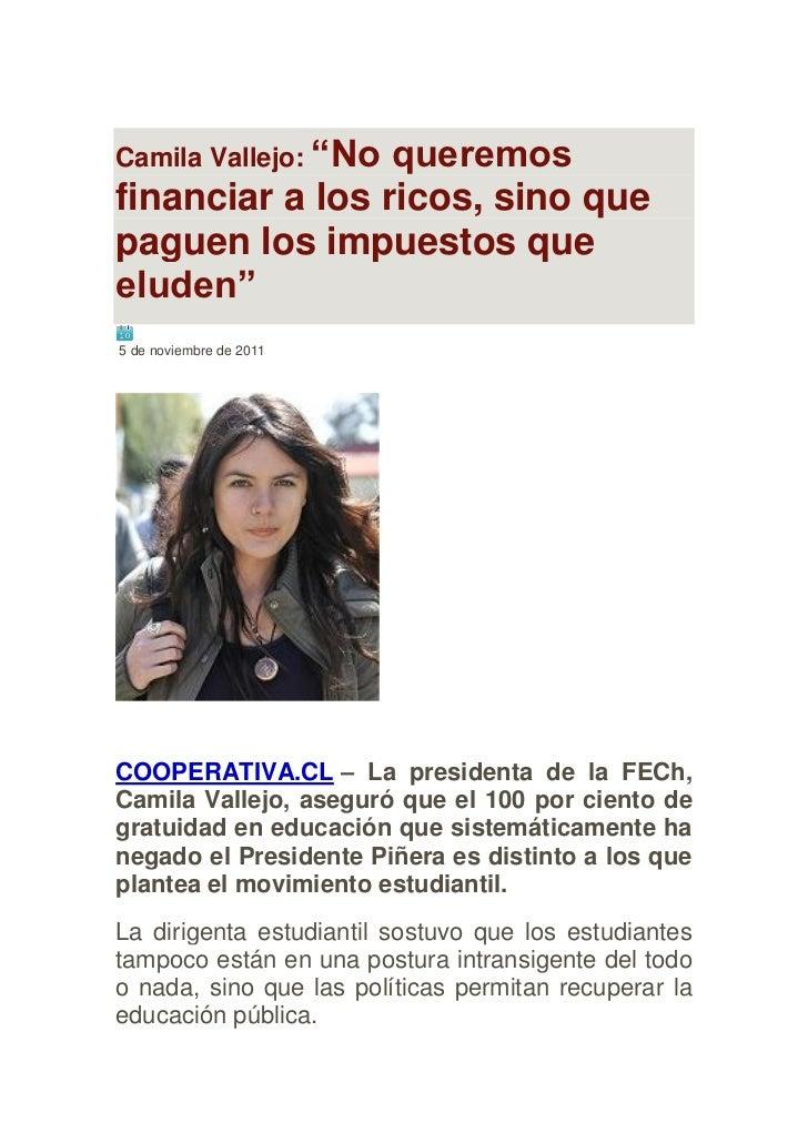 """Camila Vallejo: """"No                 queremosfinanciar a los ricos, sino quepaguen los impuestos queeluden""""5 de noviembre d..."""