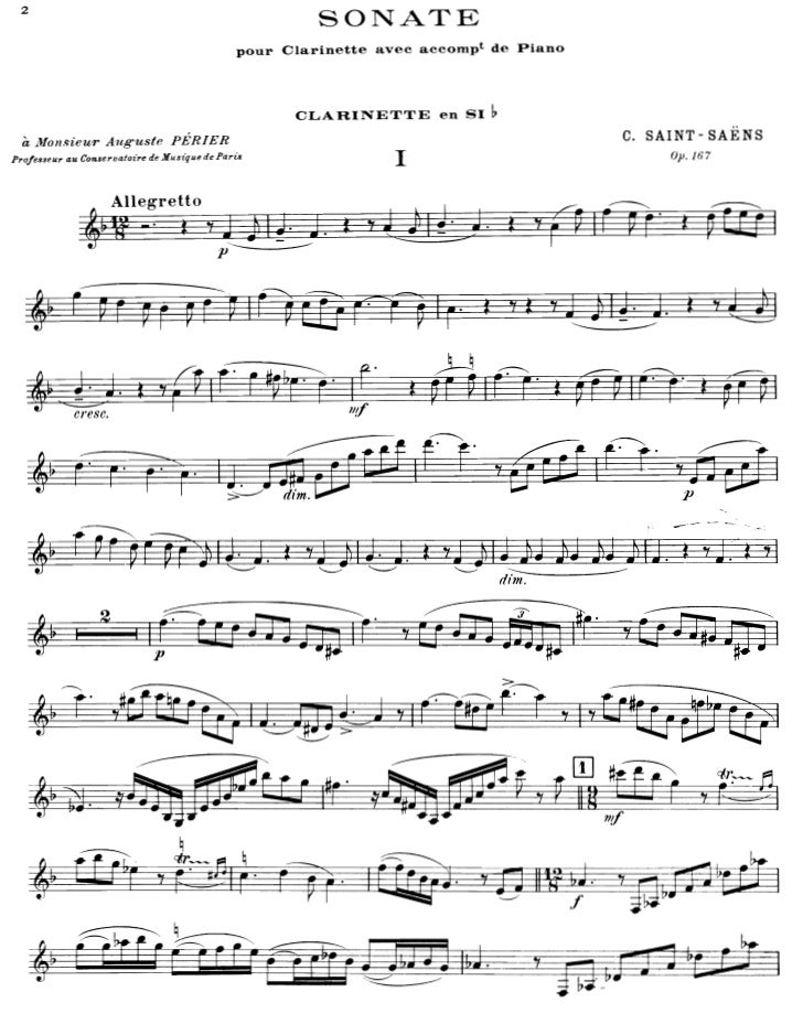 Camille saint saens sonate pour clarinette et piano - op.167 (clarinette part)