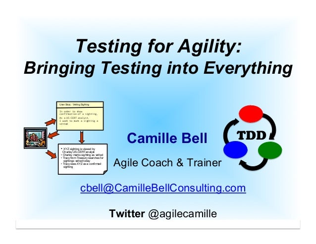 cbell@CamilleBellConsulting.com 1 Testing for Agility: Bringing Testing into Everything Camille Bell Agile Coach & Trainer...