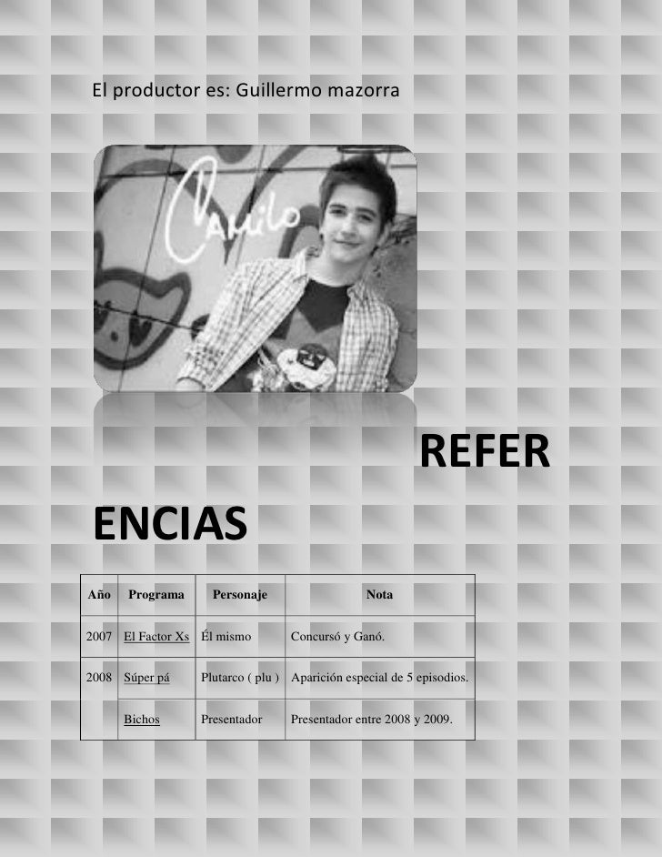 El productor es: Guillermo mazorra                                                           REFERENCIASAño   Programa    ...