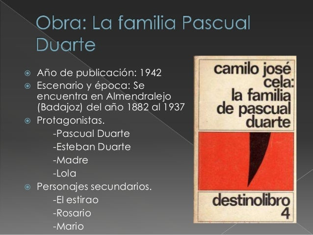  Pascual Duarte es un hombrecondenado al garrote vil, durantela espera de su pena de muerte,escribe sus memorias.Pascual ...