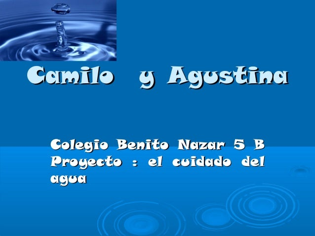 Camilo y AgustinaCamilo y Agustina Colegio Benito Nazar 5 BColegio Benito Nazar 5 B Proyecto : el cuidado delProyecto : el...