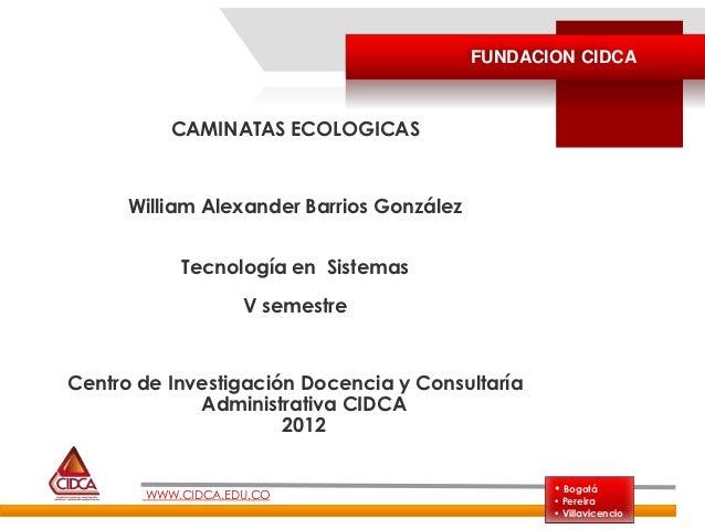 FUNDACION CIDCA          CAMINATAS ECOLOGICAS      William Alexander Barrios González           Tecnología en Sistemas    ...