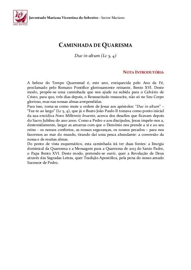Juventude Mariana Vicentina do Sobreiro - Sector Mariano                   CAMINHADA DE QUARESMA                          ...