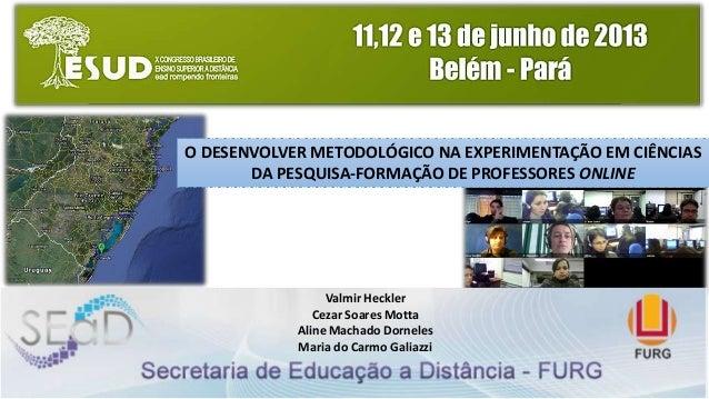 O DESENVOLVER METODOLÓGICO NA EXPERIMENTAÇÃO EM CIÊNCIASDA PESQUISA-FORMAÇÃO DE PROFESSORES ONLINEvalmirheckler@furg.brVal...